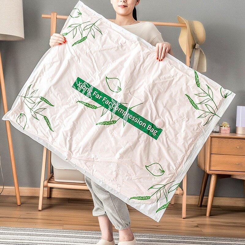 Printed Convenient Vacuum Bag Storage Organizer Transparent Clothes Organizer Seal Compressed Travel Saving Space Bags Package