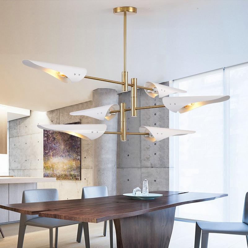 Nordique moderne or blanc Led lustre plafond Art déco lampe suspendue pour cuisine salon Loft chambre E27 90V ~ 260V
