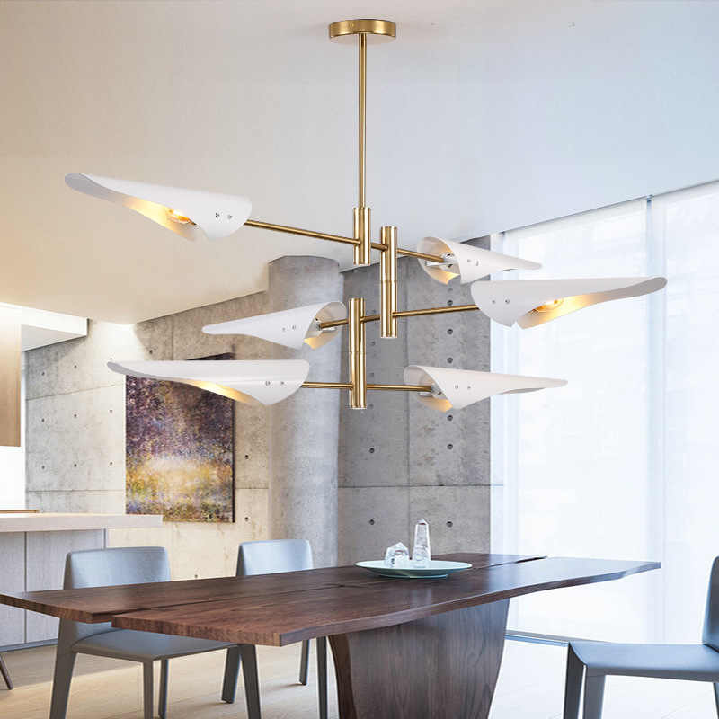 Nordic Modern White Gold Led Chandelier Ceiling Art Deco Suspended Light Lamp for Kitchen Living Room Loft Bedroom E27 90V~260V