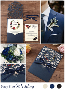 Image 5 - 50pcs Navy blue New Arrival Horizontal Laser Cut Wedding Invitations with RSVP card,pearl ribbon,CW25001B,Customizable