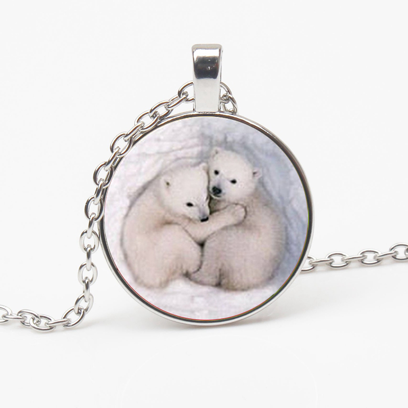 Fashion Handmade Cute Polar Bear Picture Crystal Pendant Glass Cabochon Sweater Chain Charm Jewelry Holiday Party Gift Choker