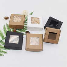 30pcs Small Cardboard Box,Kraft Paper Box With Transparent Window,White Handmade Soap Box,Jewelry Packaging