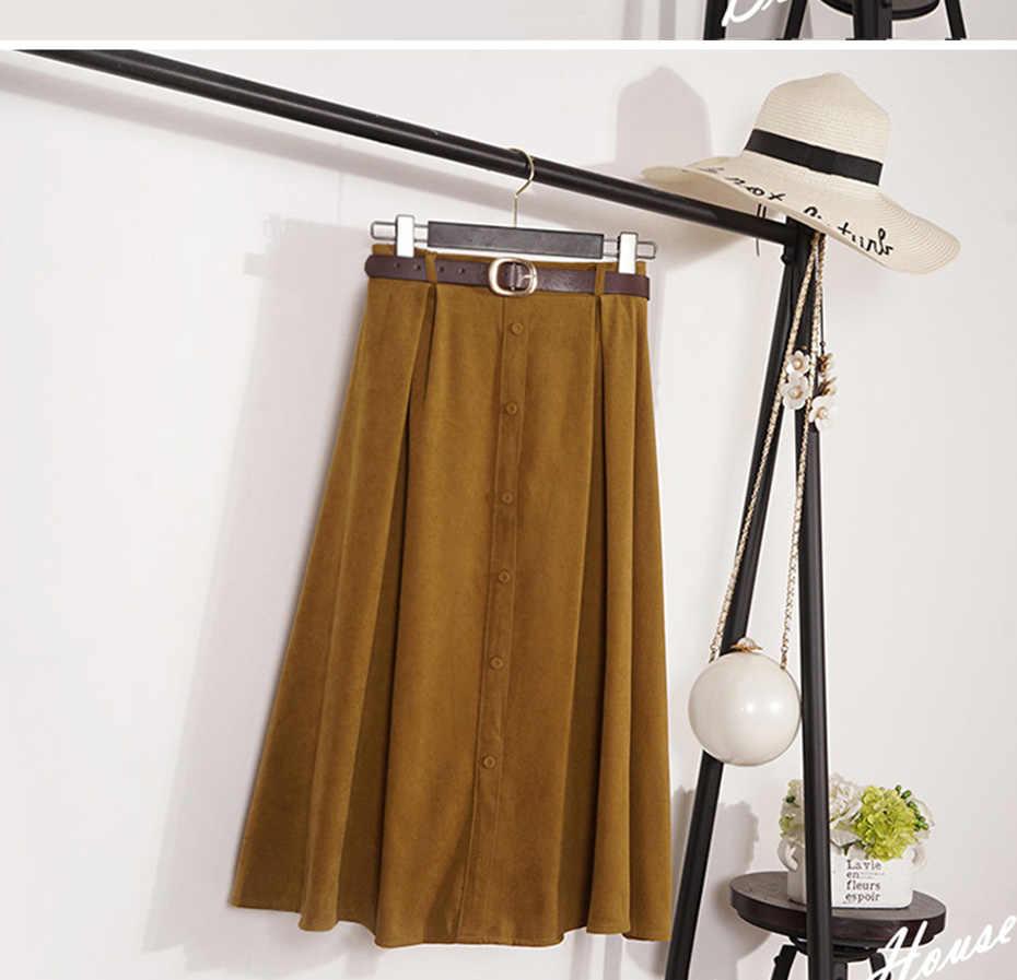 秋のスカートの女性スエードベルベット女性スカート女性ミディロングエレガントなスカート帝国 A ラインプリーツスカート