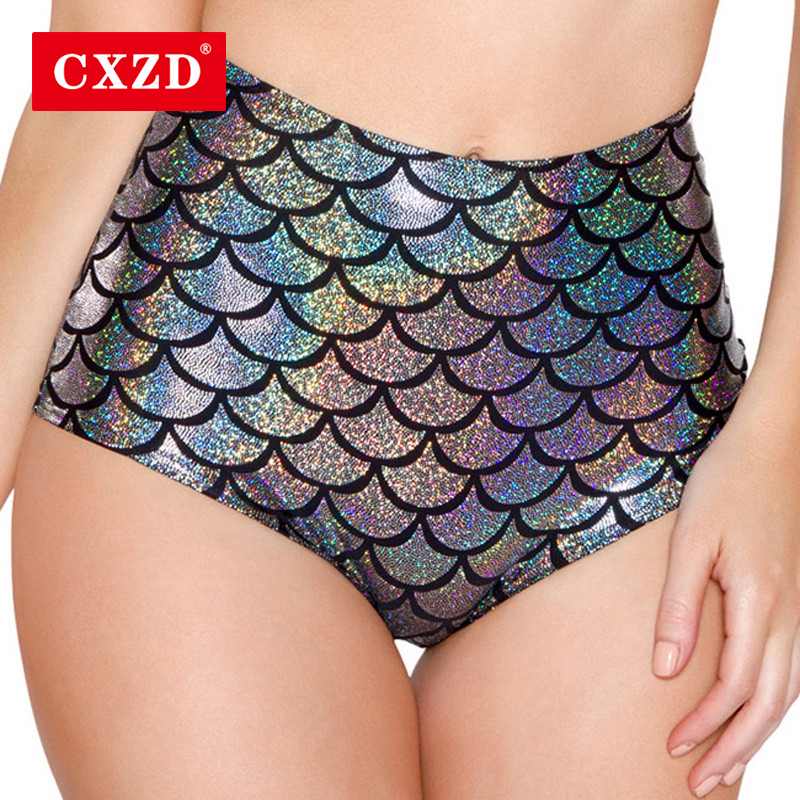 CXZD Women High Waist Mermaid Sexy Skinny Stretch Shorts Thin Beach Long  Short Casual Fish Female Scales Skinny Shorts