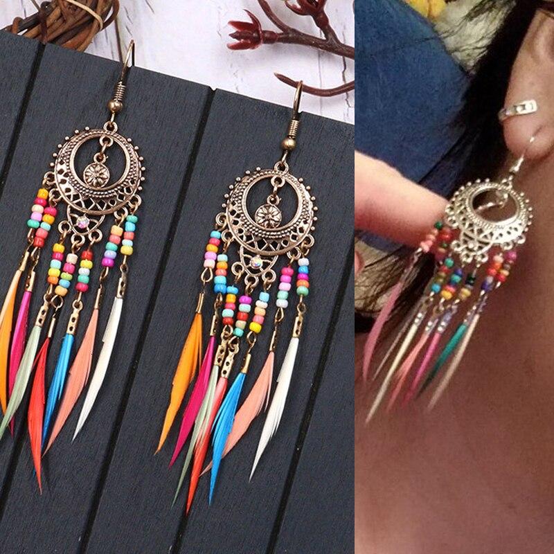2020 Golden Silver Color Ethnic Acrylic Rainbow Beads Feather Drop Earrings for Women Wedding Earrings Boho Jewelry Wholesale