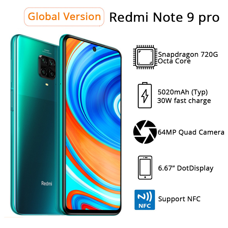 Global Version Xiaomi Redmi Note 9 Pro 6GB RAM 64GB / 128GB ROM Mobile Phone Snapdragon 720G 64MP Quad Camera 6.67