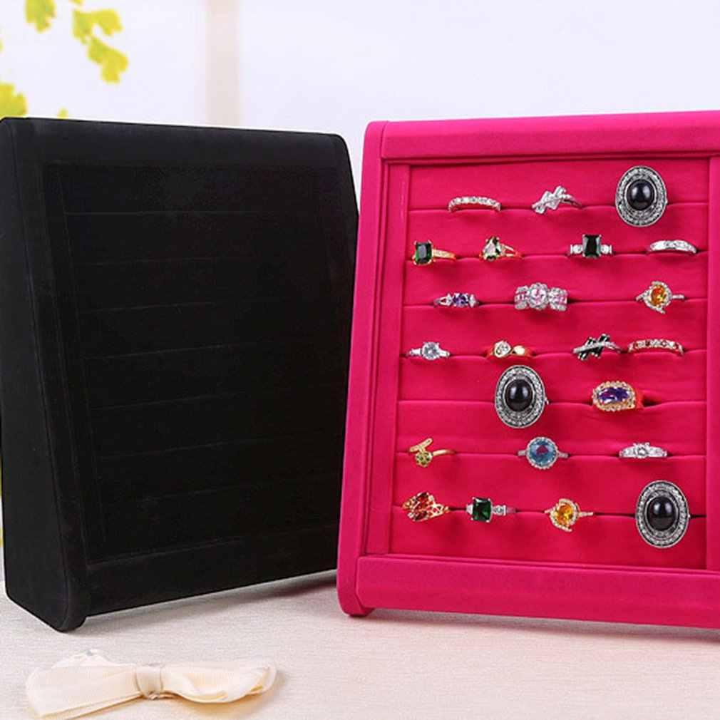 Samt Ohrringe Ring Organizer Ohr Studs Schmuck Display Box Fall Ständer Halter Rack Schaufenster Tablett 2 Stil Lagerung Ring Display