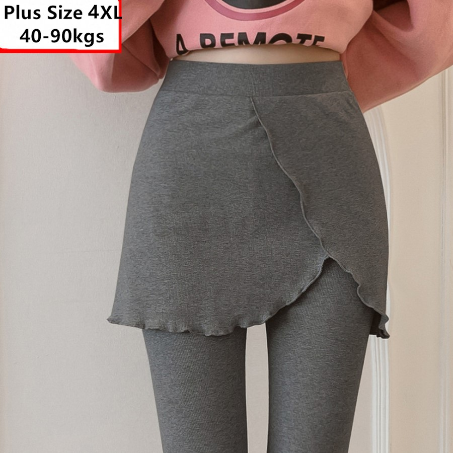 2019 Autumn Winter Cotton Knitted Leggings Women Plus Size 4XL Fake Two Pieces Ruffles Skirt And Leggings Pants High Quality