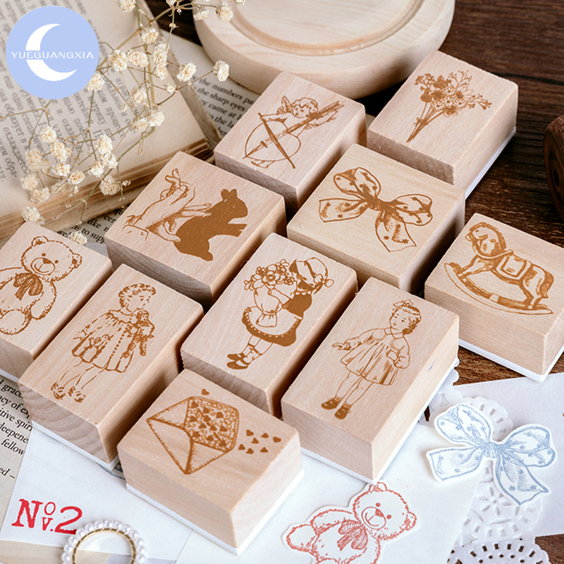 YueGuangXia Girl Delicacy Small Seal Wooden Rubber Stamps Set For Scrapbooking Deco Craft Planet Star Wooden Stamps 10Designs