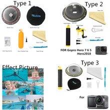 Telesin acessórios 3 modelo à prova dwaterproof água habitação dome porta para gopro sessão para gopro hero 7 6 5 para dji montagem da câmera