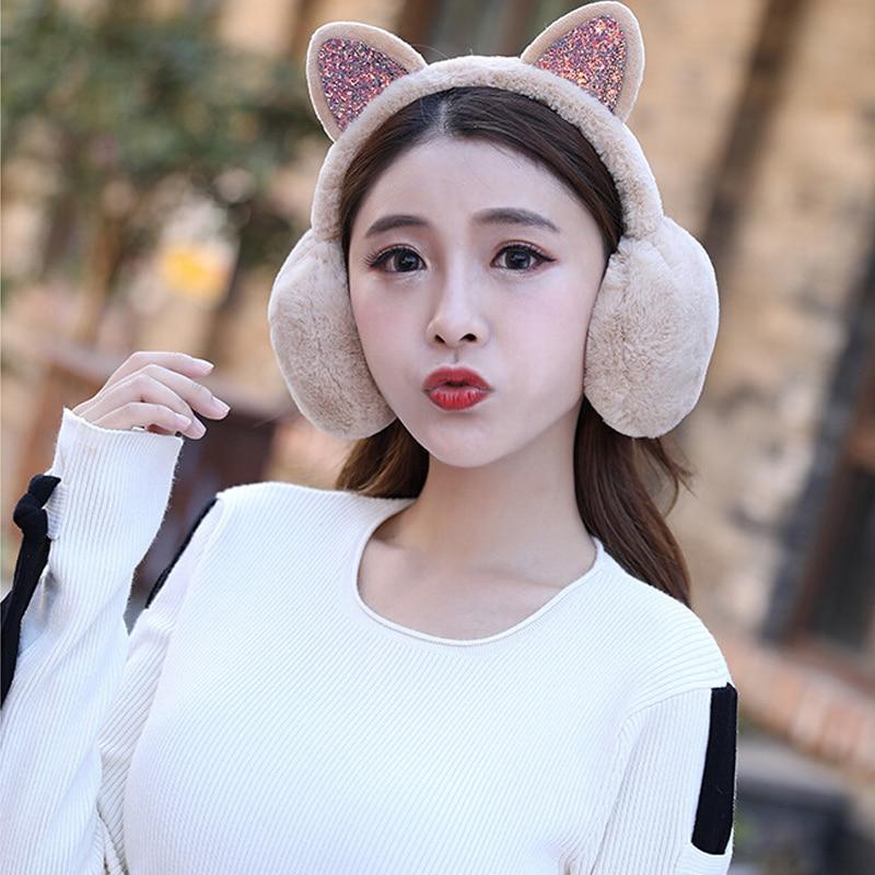 Women Fur Winter Ear Warmer Earmuffs Cat Ear Muffs Earlap Glitter Sequin Party