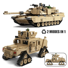 Compatible Creator Military M1A2 Abrams MBT Tank Cannon Deformation Hummer Soldier Mini Figures Building Blocks Toys Kids Gift tamiya35269 tank assembly model american m1a2 abrams tank model