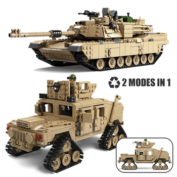 Compatible Creator Military M1A2 Abrams MBT Tank Cannon Deformation Hummer Soldier Mini Figures Building Blocks Toys Kids Gift