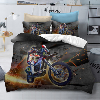 BEST.WENSD Customized Motorcycle bed sack queen bed set for man boy 2019 Blue white california king bedding sets boy kids