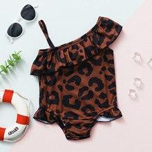 Swimsuit Baby-Girls One-Shoulder No Biquini Ruffles Leopard Printed Traje-De-Bano One-Piece