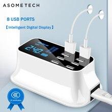 8 портовое Цифровое Зарядное устройство USB с ЖК дисплеем для Android iPhone адаптер планшет мобильный телефон 2.4A быстрое зарядное устройство для xiaomi huawei samsung