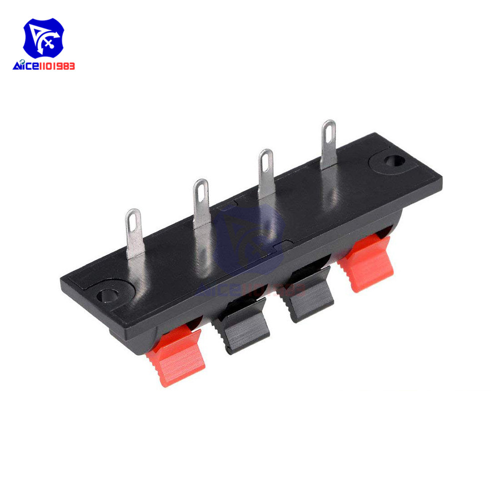 Pack of 5 4 Way Stereo Speaker Terminal Connectors Terminal Strip Block Spring Clips Jointing Clamp Test Clip Push Release Connector YUKIHALU High Current 8A Capacity