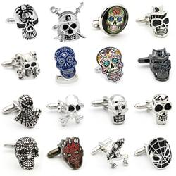 Ücretsiz Kargo Kafatası Kol Düğmeleri 28 Vintage İskelet Tasarımları Erkekler Tasarımcı Kol Düğmeleri Toptan ve perakende