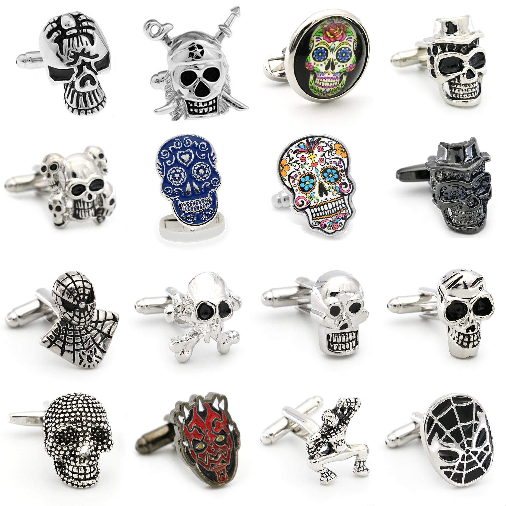 Free Shipping Skull Cufflinks 28 Vintage Skeleton Designs Men's Designer Cuff Links Wholesale&retail