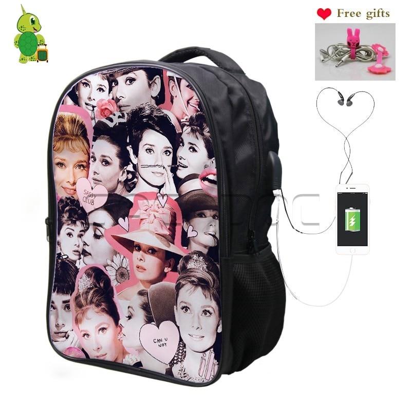Famous Idol Audrey Hepburn Overlay Backpack USB Charge Headphone Jack School Backpack for Teenagers Girls Boys Laptop Travel Bag