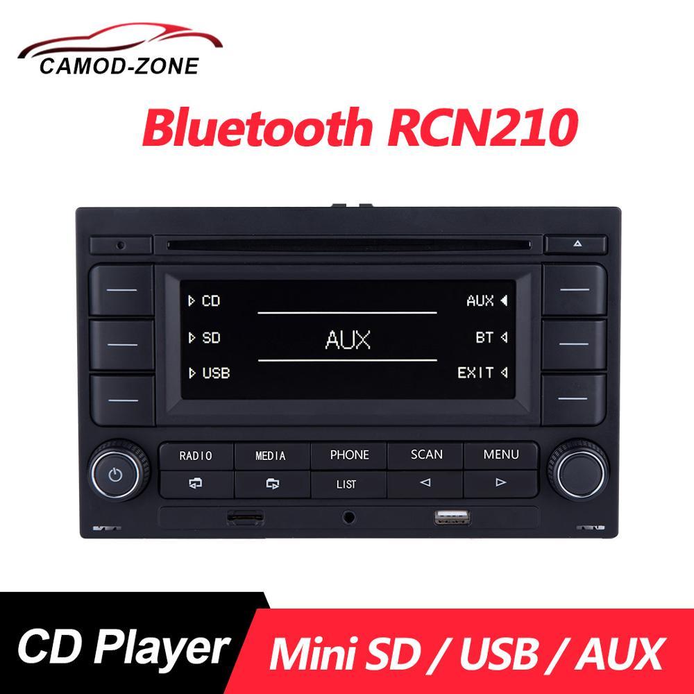 Rádio automotivo com bluetooth, rádio cd player usb mp3 31g 035 185 para vw polo 9n golf jetta mk4 passat b5 rcn 210