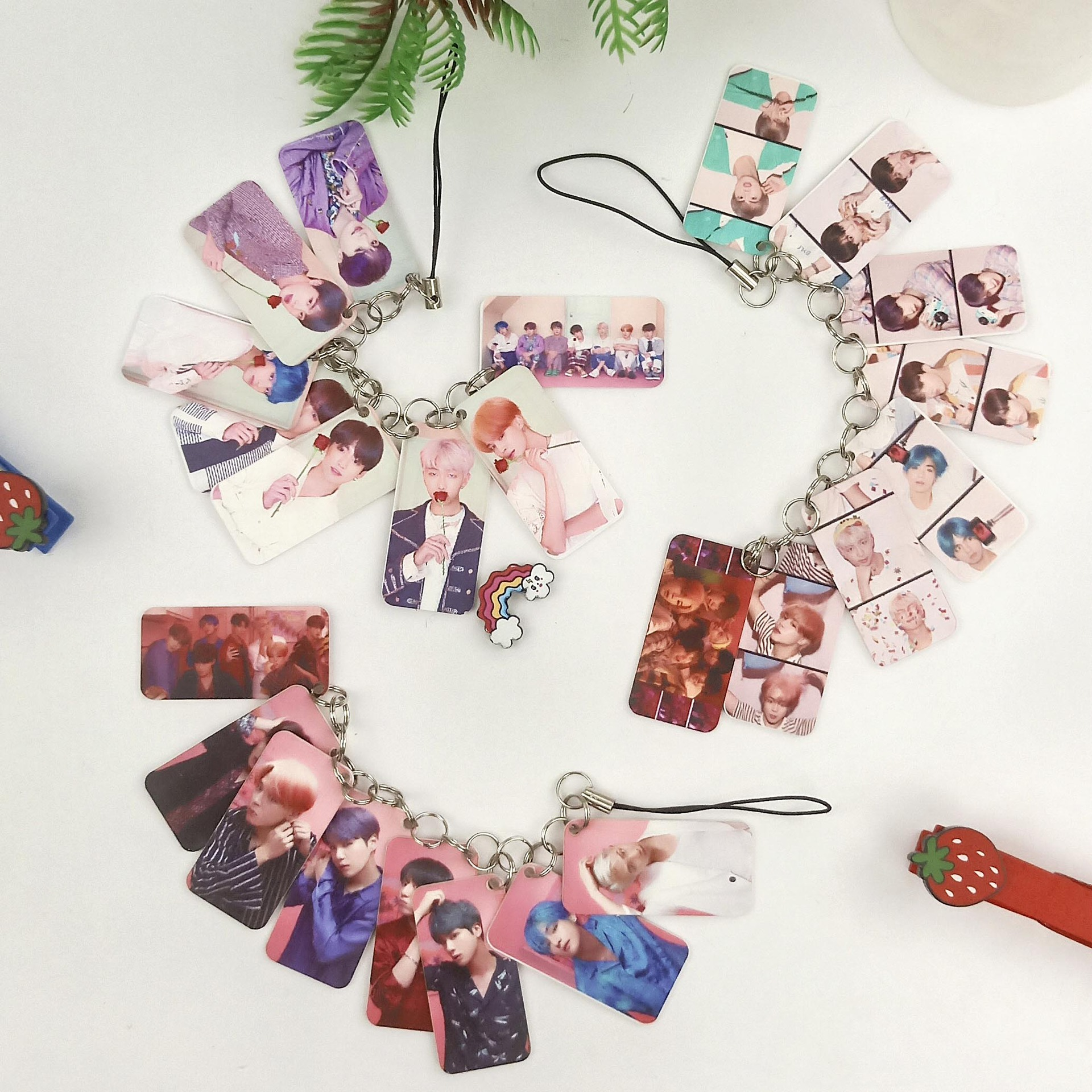 Fashion Bangtan Boys Keychains Map Of The Soul Persona Album Photo Pandent Key Chain Kpop Bangtan Boys Keychain Ring