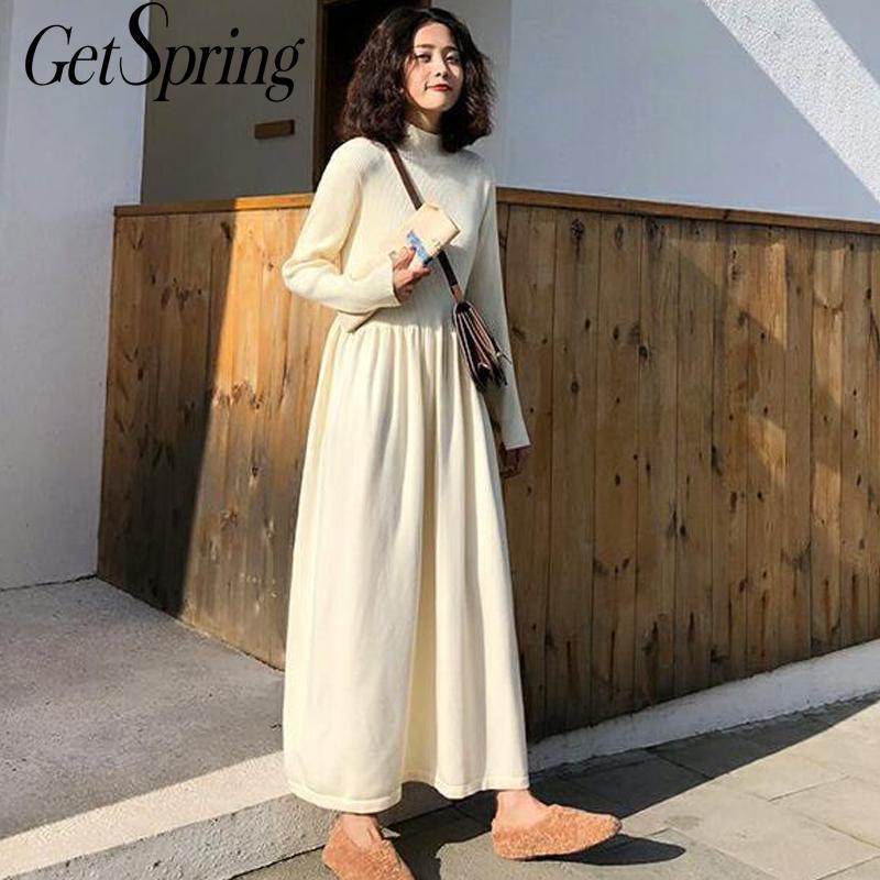 GetSpring-vestido de cuello alto para mujer, vestido de otoño e invierno, suéter de punto de manga larga, vestidos largos de cintura alta con botones, 2020