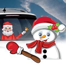 Наклейка на заднее стекло, наклейка на лобовое стекло, наклейка на стекло, Рождественская наклейка на заднее стекло, милый Санта Клаус, развевающийся