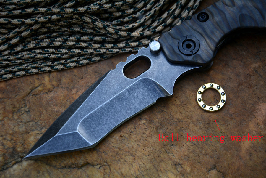Tools : Y-START SMF Knife D2 Satin Blade Folding Tactical Knife Titanium Handle Survival Outdoor Tool with Nylon Case
