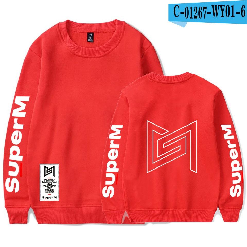 SuperM Korean Stylish Kpop Harajuku Printed  Harajuku Round Collar Sweatshirt Women/men College Stylish 2019 New Sweatshirt 19