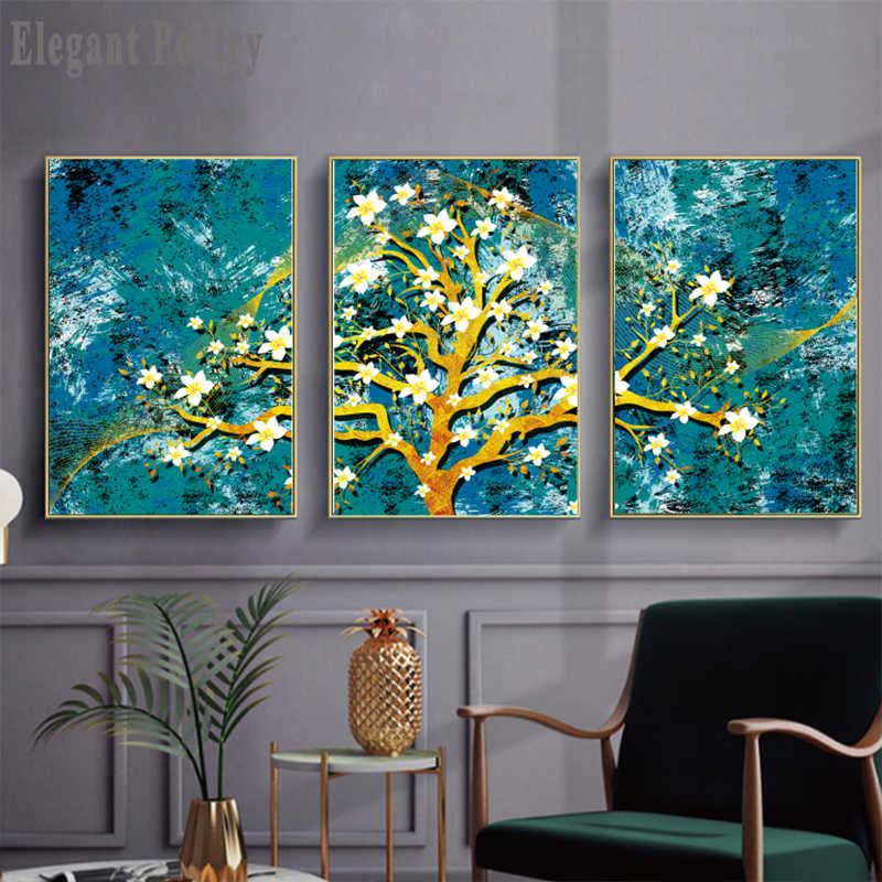 Abstract Golden Flowers Trees Landscape Canvas Art Print Poster Picture Wall Modern StyleLiving Room Home Decoration Painting