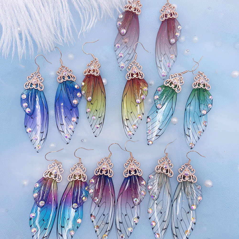 Resin glitter fairy angel wings pendant necklace