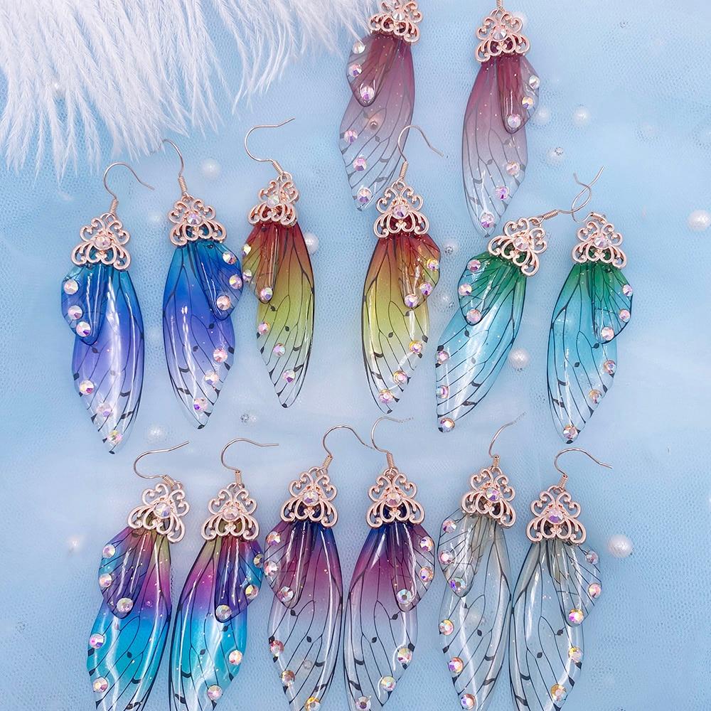 Fada arco-íris gradiente resina borboleta asa gota brincos para mulheres strass glitter simulação inseto balançar brincos jóias