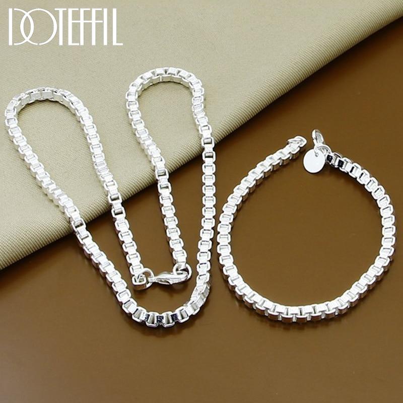 DOTEFFIL-conjunto de collar y pulsera para mujer, de plata de ley 925, caja redonda de 6mm, para boda, compromiso, joyería para fiesta