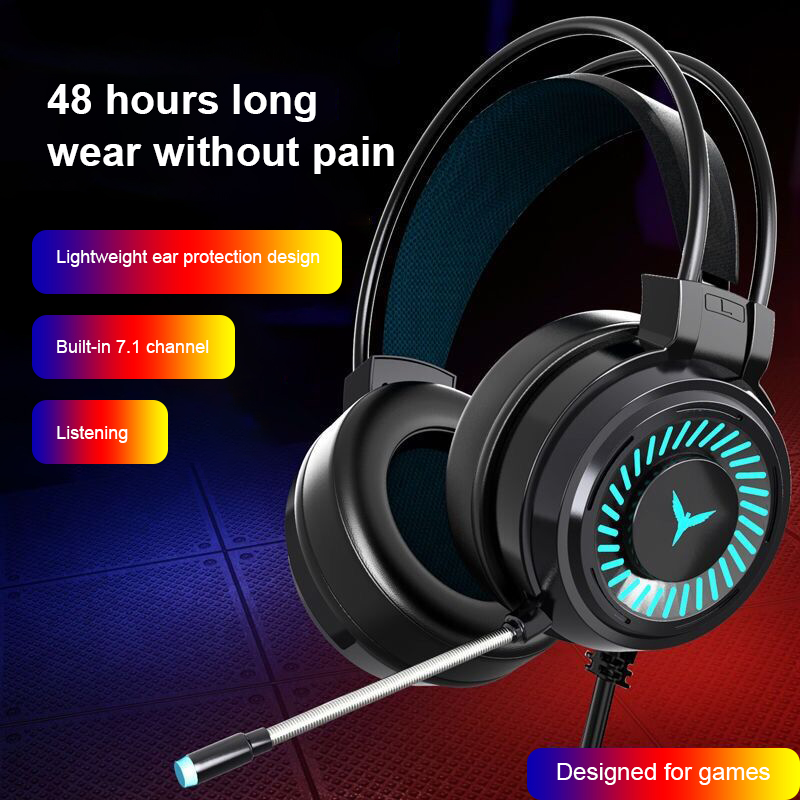 Gaming Headsets Computer Headphones With Micphone 3.5mm Jack Wired Earphones USB Headsets For Laptop PC 7 Color Breathing Light