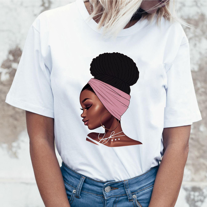 2019 Melanin Poppin T Shirt Women Harajuku Female T-shirt Black Girl Magic Aesthetic Funny T Shirt Femme Tops Tee