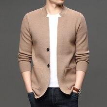 Elegant Solid Turn Down Collar Cardigan Men Sigle Breasted Sim Fit Long Sleeve Cardigan Sweater Men Fashion Top Sueter Cardigan