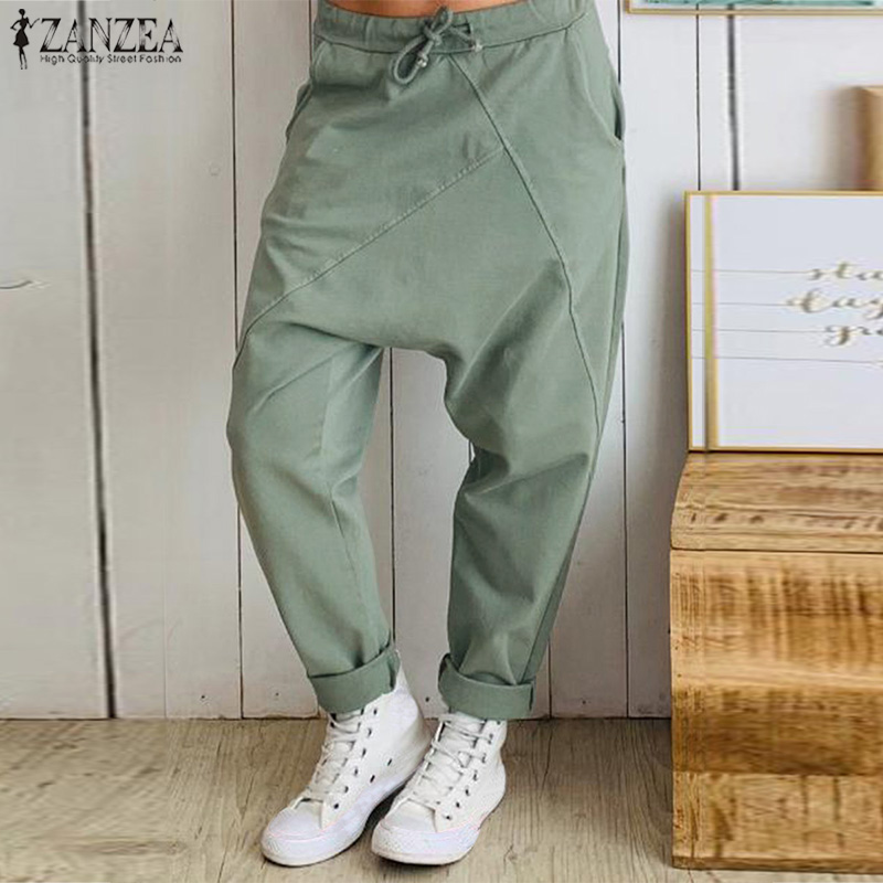 2019 Fashion Women's Pants ZANZEA Casual Elastic Waist Drop-crotch Trousers Vintage Solid Patchwork Streetwear Pantalones Turnip