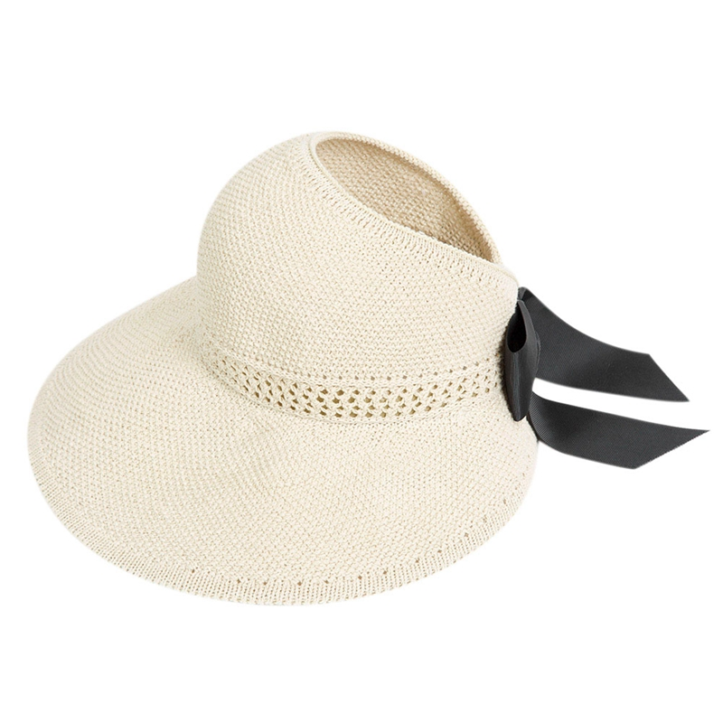 Fashion Bow Sun Hats Women Ponytail Sun Cap Ribbon Knitted Raffia Hat For Women Uv Protection Caps Female Beach Hat Beige