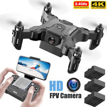 Novo v2 mini zangão com 1080p hd câmera wifi fpv pressão de ar altitude hold dobrável quadcopter rc zangão brinquedo do miúdo presente