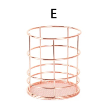 Desk Rose Gold Iron Pen Holder Multifunction Storage Baskets Storage Basket For Office Home Garden Desk Accessories