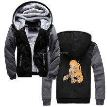 Men's Hoodie Tattoo Girl Hoodies Punk Alice In Wonderland Present Poster Gift Funny Anime Winter Keep Warm Thicken Sweatshirts(China)