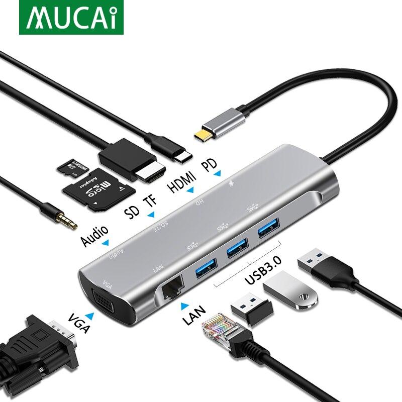 MUCAI USB C HUB Type C to HDMI 4K USB 3.0 RJ45 SD/TF Adapter USB Dock Splitter Port For MacBook Pro Air laptop PC accessories
