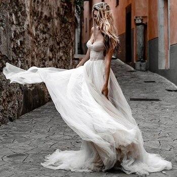 Verngo-Vestido de novia de corte en A, tul suave Simple, Vestido de...