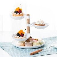 4 слоя сушеные тарелки для фруктов вращающаяся тарелка витрина для десертов Кондитерские конфеты, снек лоток посуда Креативный дизайн кухо...
