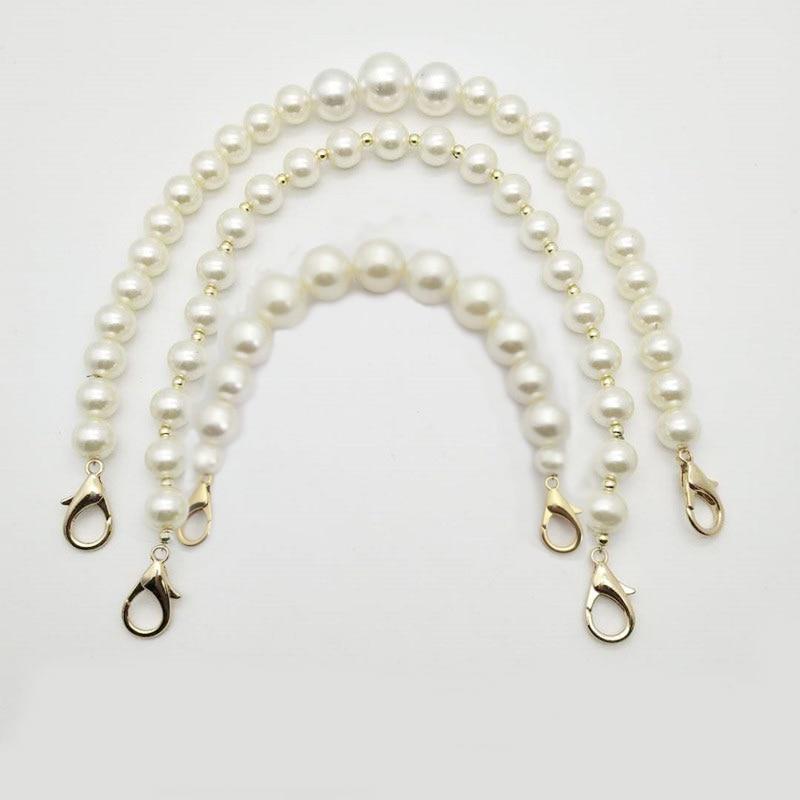DIY Sweet Faux Pearl Beaded Handbag Strap Women Lady Purse Belts White Replacement Bag Handle Shoulder Bag Strap Bag Accessories
