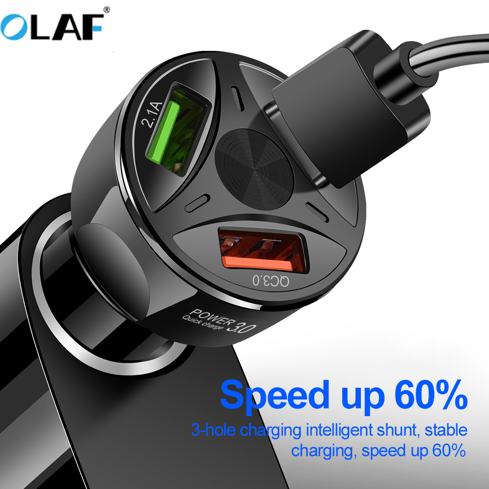 OLAF USB Car Charger Quick Charge 3.0 Fast Car Charging Cigarette Lighter For Samsung S9 S8 Xiaomi iphone Mobile Phone Charger