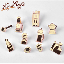 New Arrival Couple Espresso Accessories Barista Coffee Maker Brooch Mini Tamper Beautiful Badge Cafe Gift