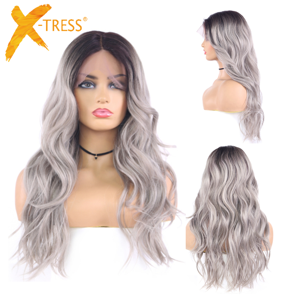 Ombre Grey Color Natural Wave Synthetic Lace Front Wig Black Pink Cosplay Heat Resistant Fiber Lace Wig For Black Women X-TRESS