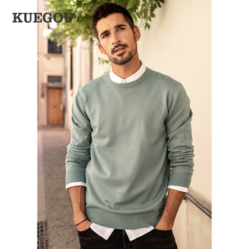 KUEGOU Autumn winter clothing  Solid color Men's sweater stretch Couple pullovers fashion warm sweaters top plus size YYZ-2209 1